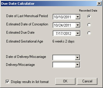 gestational age by due date